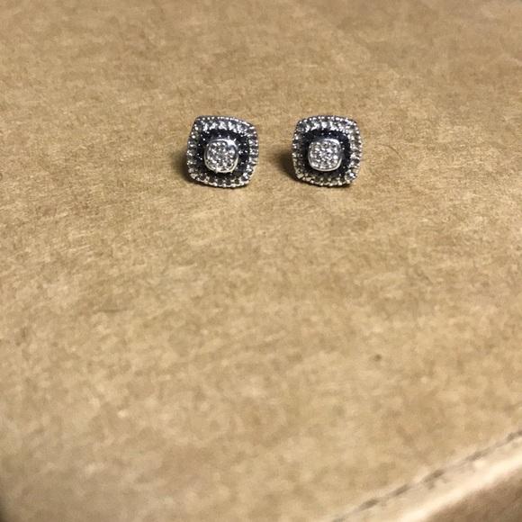 a62b7a90f Kay Jewelers Jewelry   Black White Square Stud Diamond Earrings ...